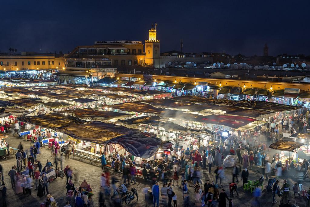 Marrakech - Plaza Jemaa el Fna por la noche